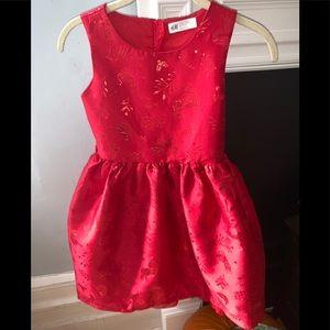 H&M girls red holiday dress.